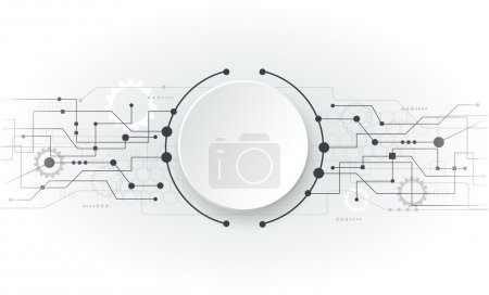Illustration for Vector illustration Abstract futuristic circuit board, hi-tech computer digital technology concept, Blank white 3d paper circle for your design on light grey color backgroun - Royalty Free Image