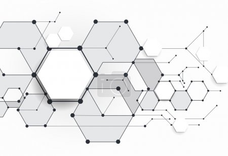 Vector Abstract molecules with 3D paper polygon on light gray background. Communication-social media technology concept