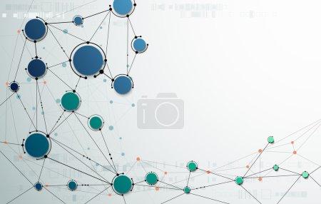 Illustration pour Structure moléculaire abstraite sur fond gris clair. Illustration vectorielle de la communication - réseau de concepts technologiques futuristes. Avec de l'espace pour votre contenu, votre entreprise, votre réseau et votre conception Web - image libre de droit