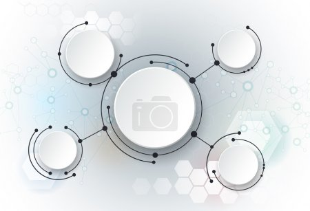 Illustration for Vector illustration abstract molecules and global social media communication technology concept with 3D paper label- integrated circles and space for your content, business, infographic template, network and web design - Royalty Free Image
