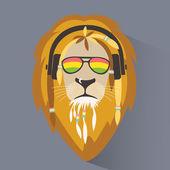 Lion reggae Lion rastafarian Lion head with dreadlocks Logo reggae Vector illustration