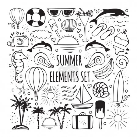 Summer hand drawn set of elements for logos design