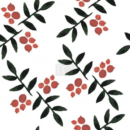 watercolor seamless pattern ashberry