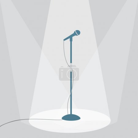 Illustration for The microphone on the stage under the spotlights. EPS10 vector illustration. - Royalty Free Image