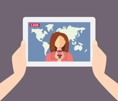 Female TV presenter, reporter, journalist, correspondent tells l