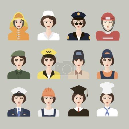 Photo pour Ensemble d'icônes de la profession masculine pour les femmes. Vecteur. EPS10. Ensemble d'icônes plates App avec l'homme de différentes professions - image libre de droit