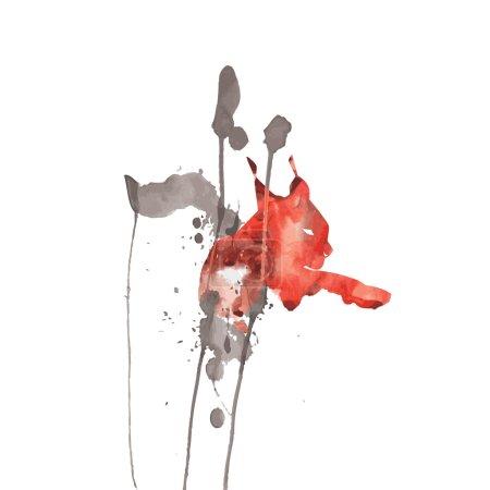 Illustration pour Lynx chat sauvage aquarelle. Illustration vectorielle. Modèle pour la conception web - image libre de droit