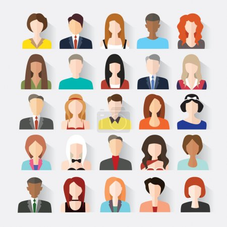 Illustration for Big set of avatars profile pictures flat icons. Vector illustration.Creative Social Networking People Vector Design - Royalty Free Image