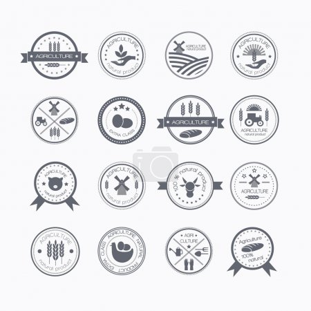 Illustration for Set of vintage style elements for labels and badges for natural organic products, biodynamic agriculture. Agriculture and farming logos. - Royalty Free Image