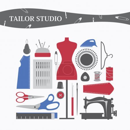 Vector sewing equipment and needlework