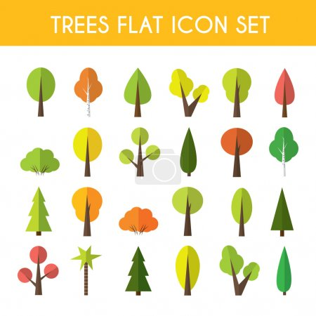 Illustration for Tree icon set a large set of illustrations in a modern style flat - Royalty Free Image