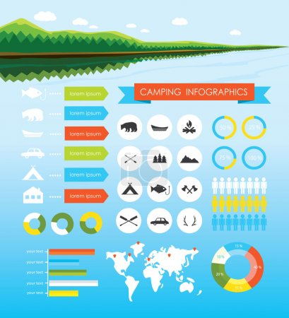 Camping outdoors hiking infographics