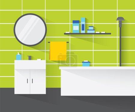 Illustration pour Intérieur de salle de bain moderne. L'intérieur de la salle de bain dans les tons verts. Salle de bains design intérieur avec de longues ombres. Illustration de design plat moderne . - image libre de droit