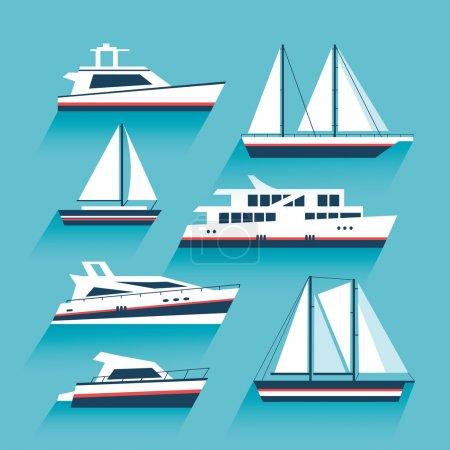 Illustration for Yachting. Set of yachts and maritime transport. Ship cruise yacht icon set in modern flat style. Yacht icons. Boat and ship icons set. Vector design illustration - Royalty Free Image