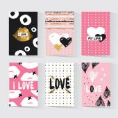 Cards with a trendy hipster print Set creative cards Valentine cards Gold tribal print Hipster invitation Trendy gold style perfect for valentines day birthday save the date invitation