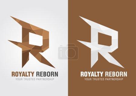 R La royauté renaît. Icône d'un alphabet R .