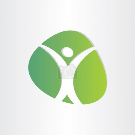 Illustration for Healthy man green icon medical body symbol - Royalty Free Image