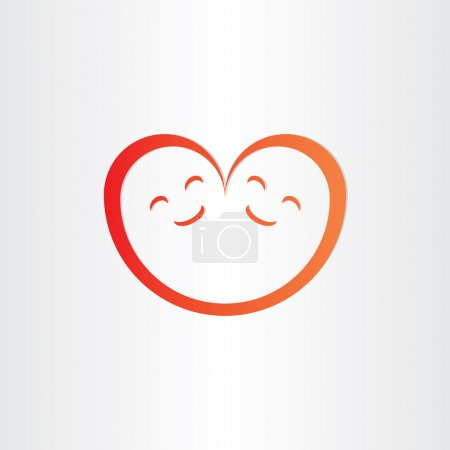 Illustration for Twins babies smile heart shape love icon design - Royalty Free Image