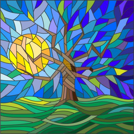 Illustration in stained glass style with an abstract tree on the background of sky, sun and green fields