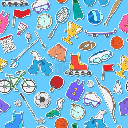 Seamless pattern on the theme of summer sports, simple colorful icons on a blue background
