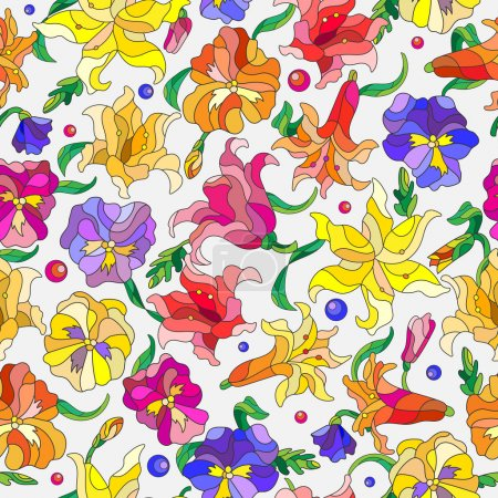Seamless background with spring flowers in stained glass style, flowers, buds and leaves of pansies and lilies on a light background