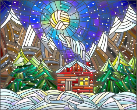 Winter landscape in the stained glass style with a lone house on a background of mountains and the night sk