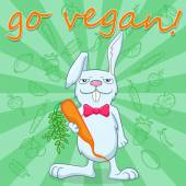 Illustration for the international day of vegetarian  funny rabbit holds a carrot on a green background with vegetables a call to become a vegetarian