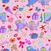 Seamless background with owls in love Valentine's day