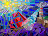 Abstract landscape with a sailboat against the sky waves and glowing beacon Color version