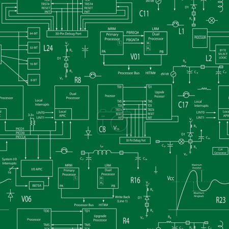Seamless background with elements of electronic circuits, in the style of technical documentation , light contour on a green background
