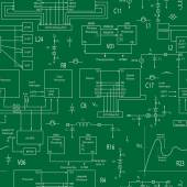 Seamless background with elements of electronic circuits in the style of technical documentation  light contour on a green background