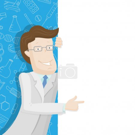 Male doctor in a lab coat points to a blank banner on a blue background with icons on a theme medicine