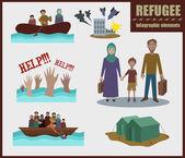 Refugee vector infographic elements set of flat icons cartoon character design  illustration Fleeing war