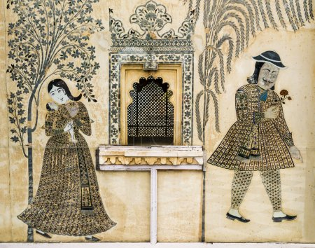 Romantic wall painting in City Palace, Udaipur, In...