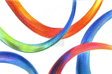 Photo pour Abstrait multicolore crayon dessin à la main dessiné surréaliste et fantastique sur le fond de texture de papier blanc, image horizontale - image libre de droit