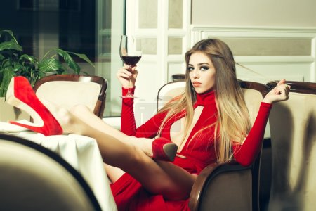 Elegant woman in restaurant