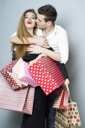 Joyful shopping couple