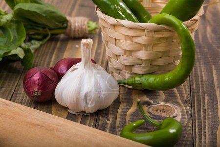Garlic onions pepper