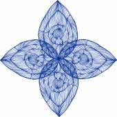 Vector illustration of one drawn from many blue lines abstract patterned symmetric flower with four petals on white background
