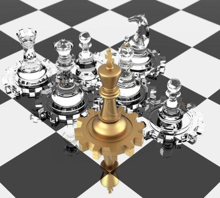 Photo pour Chess King and gears, signifiant leadership. rendu tridimensionnel . - image libre de droit