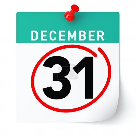 December 31 calendar. Isolated White Background.