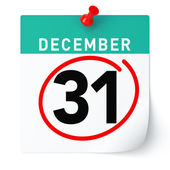 31. prosince kalendář. Izolované bílé pozadí