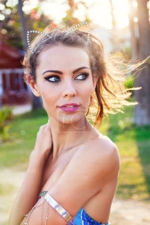 sexy woman wearing diamond wreath