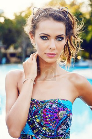 beautiful woman in bright colorful dress