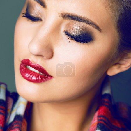studio fashion portrait of sensual woman