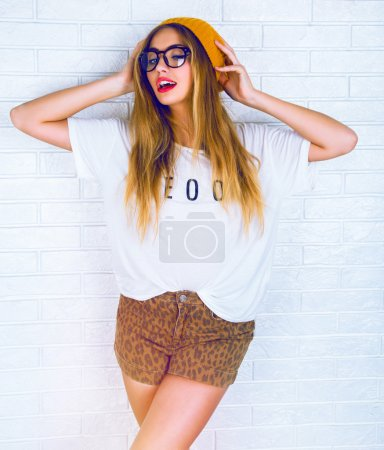 young hipster blonde woman