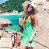 Sensual woman posing in tropic country