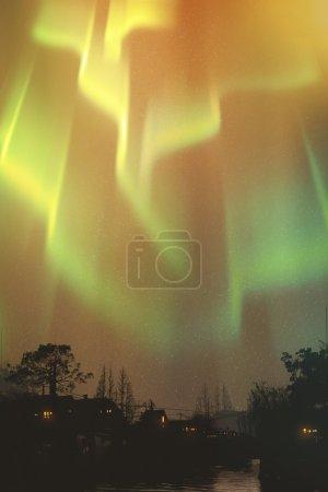 aurora borealis, northern lights above village