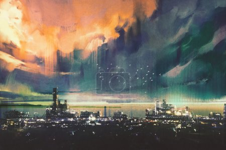 Landscape painting of sci-fi city