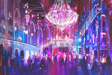 Photo for Interior night club with bright lights,illustration painting - Royalty Free Image